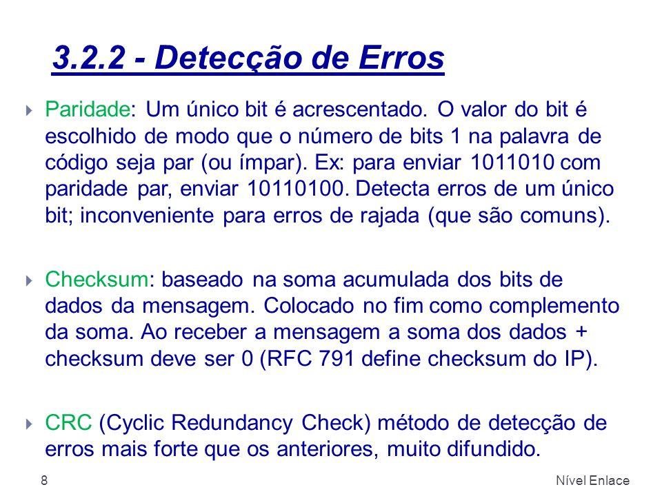 3.2.2 - Detecção de Erros Nível Enlace8  Paridade: Um único bit é acrescentado. O valor do bit é escolhido de modo que o número de bits 1 na palavra