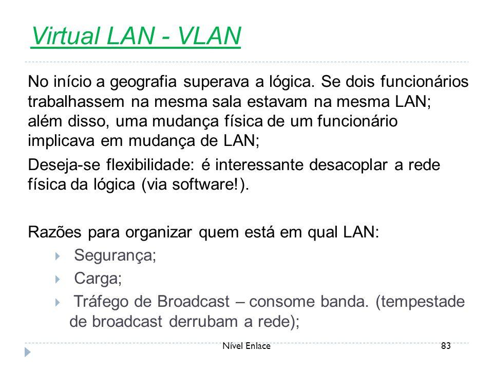 Nível Enlace83 Virtual LAN - VLAN No início a geografia superava a lógica. Se dois funcionários trabalhassem na mesma sala estavam na mesma LAN; além