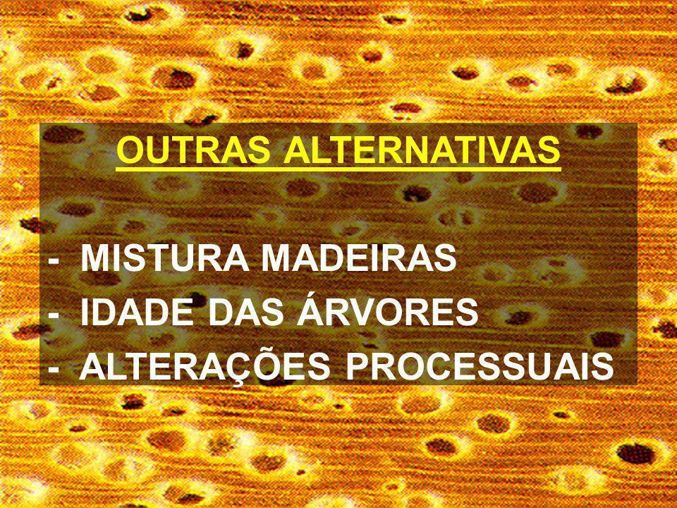OUTRAS ALTERNATIVAS - MISTURA MADEIRAS - IDADE DAS ÁRVORES - ALTERAÇÕES PROCESSUAIS