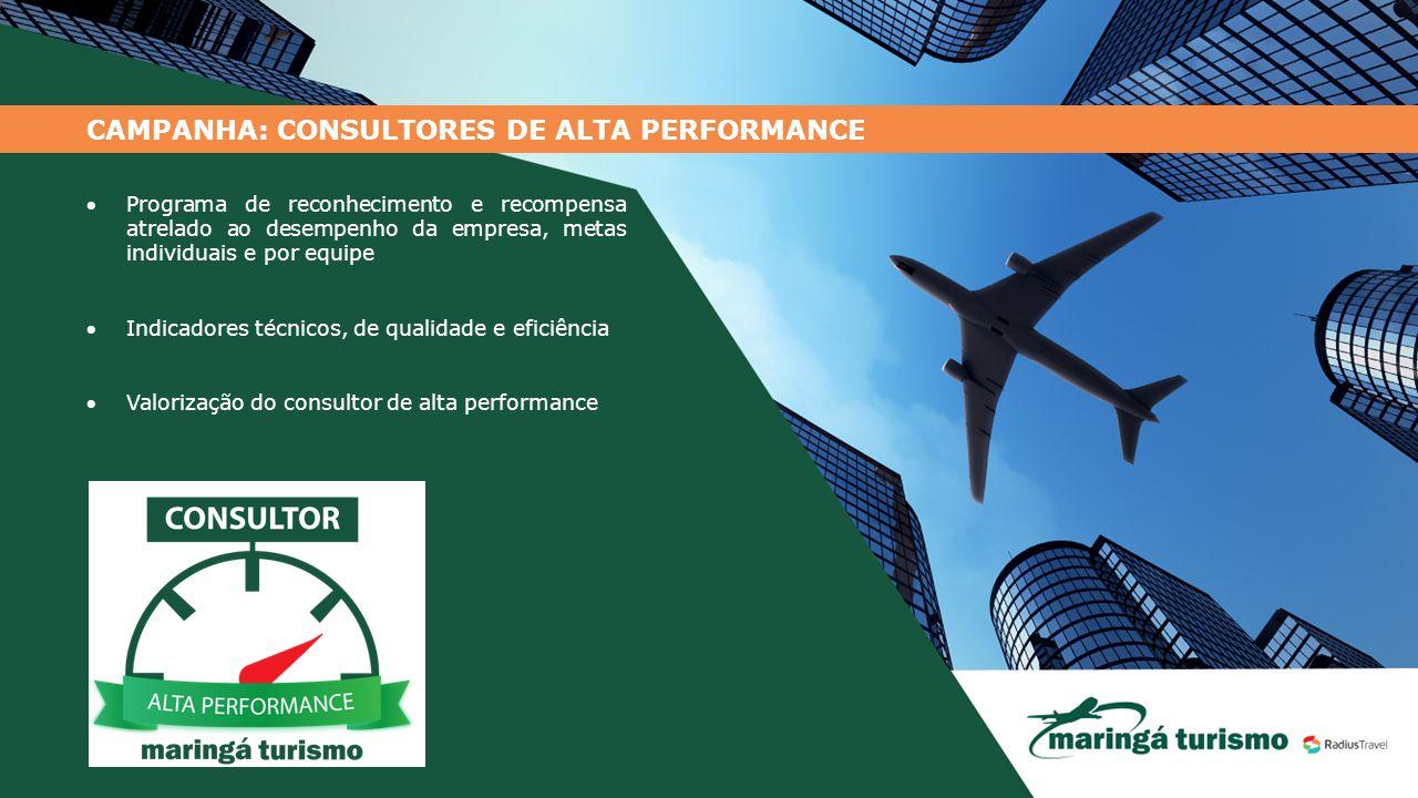 CAMPANHA: CONSULTORES DE ALTA PERFORMANCE Programa de reconhecimento e recompensa atrelado ao desempenho da empresa, metas individuais e por equipe 