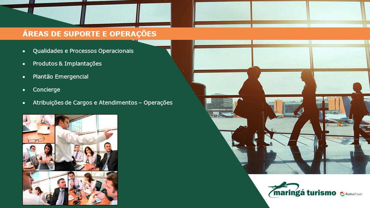 ÁREAS DE SUPORTE E OPERAÇÕES Qualidades e Processos Operacionais Produtos & Implantações Plantão Emergencial Concierge Atribuições de Cargos e At