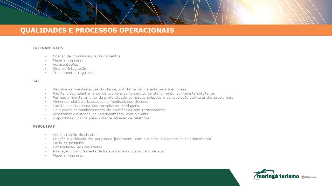 TREINAMENTOS Criação de programas de treinamentos Material impresso Apresentações Ciclo de Integração Treinamentos regulares SAC Registra as manifesta