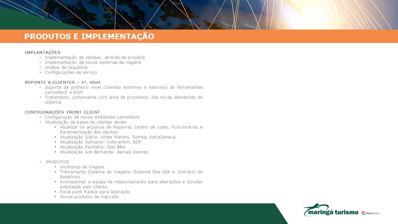 PRODUTOS E IMPLEMENTAÇÃO IMPLANTAÇÕES Implementação de clientes, através de projetos Implementação de novos sistemas de viagens Análise de requisitos