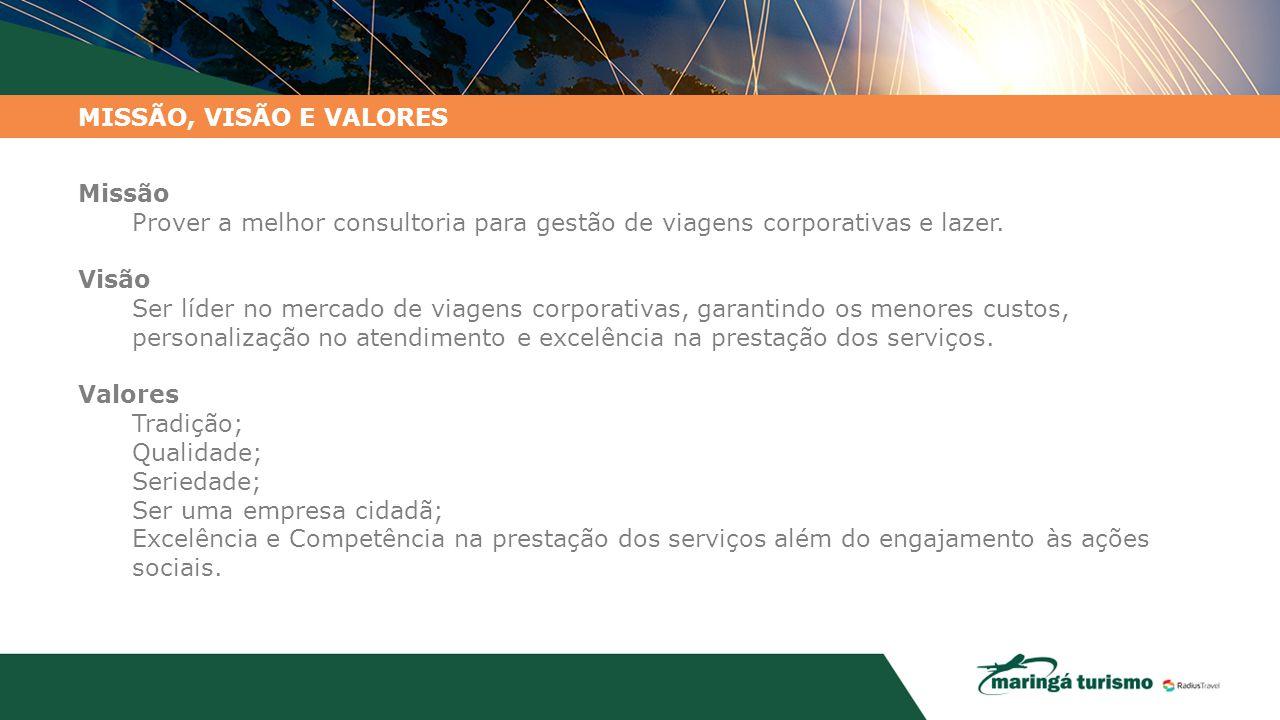 MISSÃO, VISÃO E VALORES Missão Prover a melhor consultoria para gestão de viagens corporativas e lazer. Visão Ser líder no mercado de viagens corporat