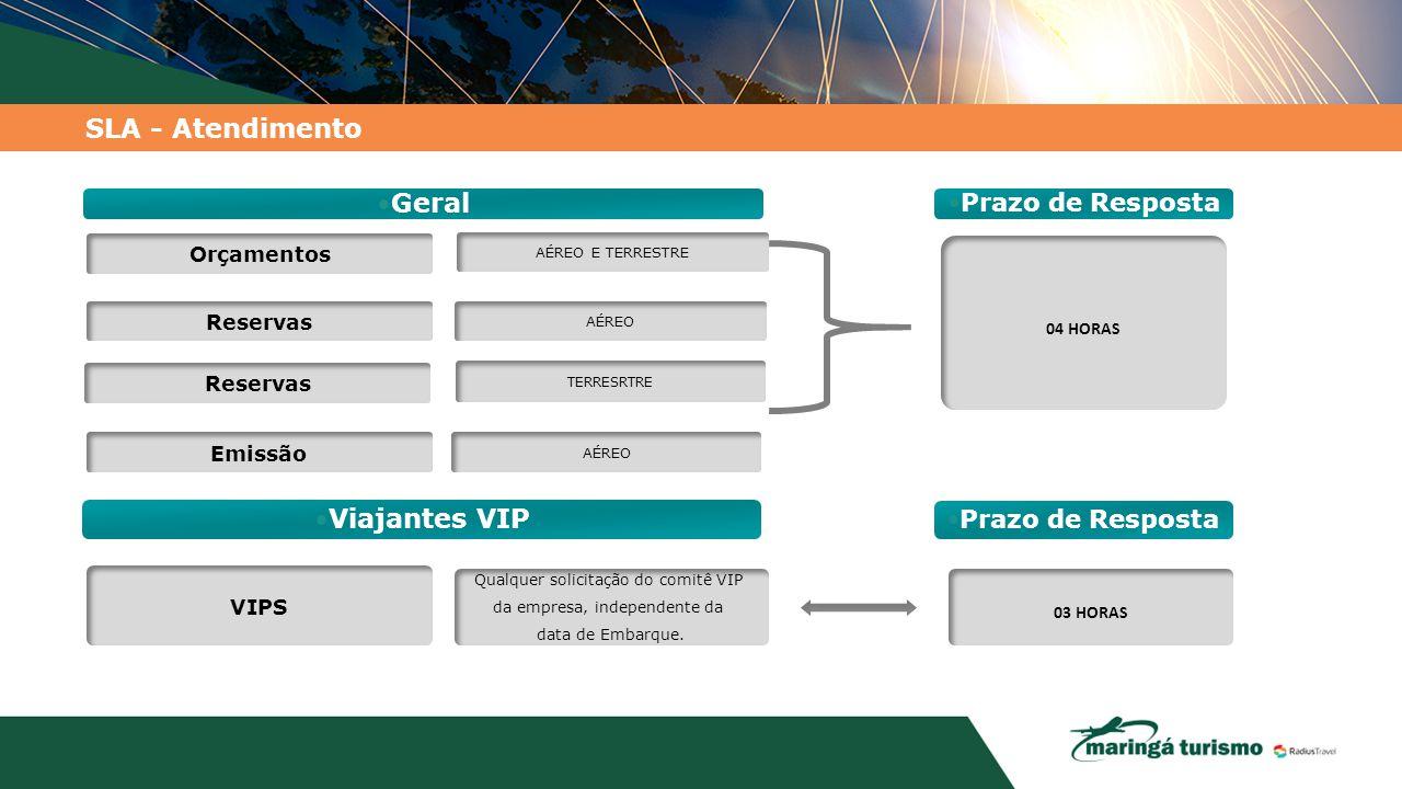 SLA - Atendimento Reservas Emissão Geral Orçamentos AÉREO AÉREO E TERRESTRE Viajantes VIP VIPS Qualquer solicitação do comitê VIP da empresa, independ