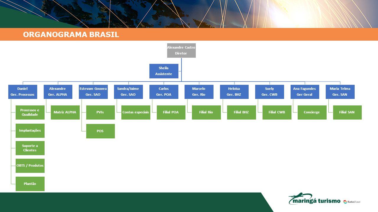 ORGANOGRAMA BRASIL Alexandre Castro Diretor Daniel Ger. Processos Processos e Qualidade Implantações Suporte a Clientes OBTS / Produtos Plantão Alexan