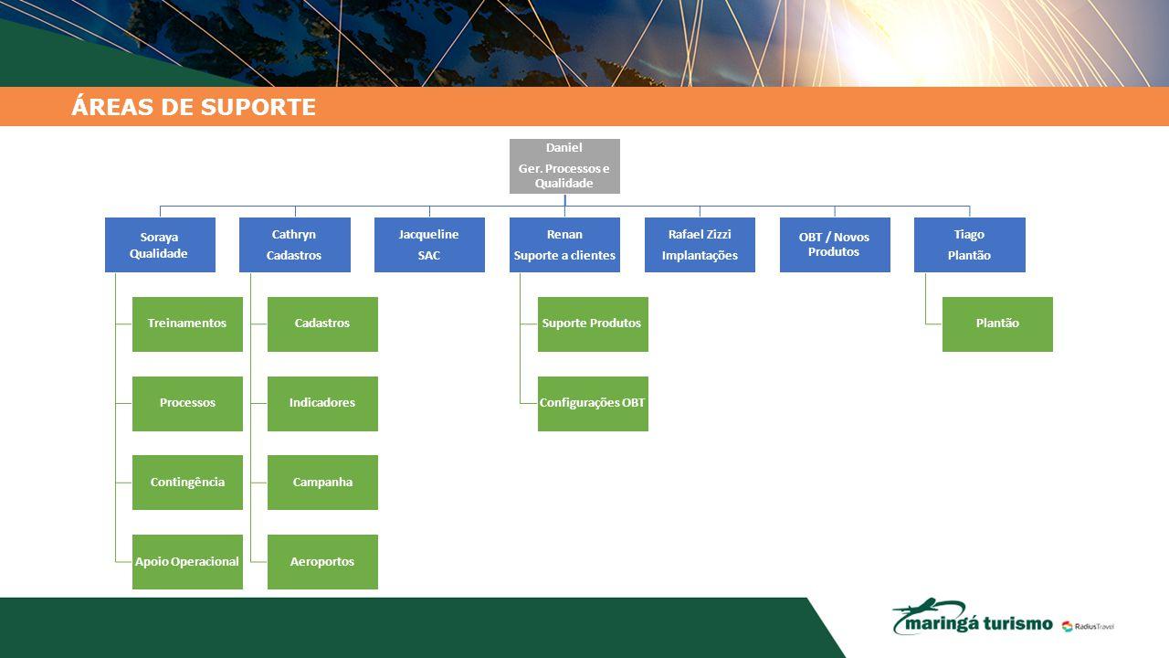 ÁREAS DE SUPORTE Daniel Ger. Processos e Qualidade Soraya Qualidade Treinamentos Processos Contingência Apoio Operacional Cathryn Cadastros Indicadore