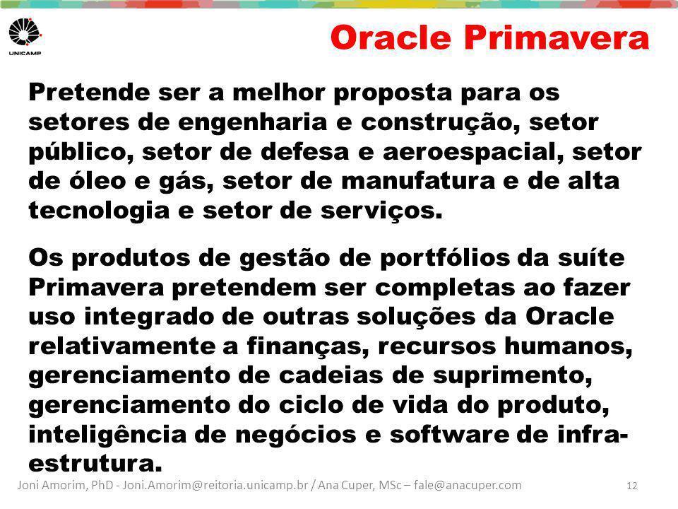 Joni Amorim, PhD - Joni.Amorim@reitoria.unicamp.br / Ana Cuper, MSc – fale@anacuper.com Oracle Primavera Pretende ser a melhor proposta para os setore
