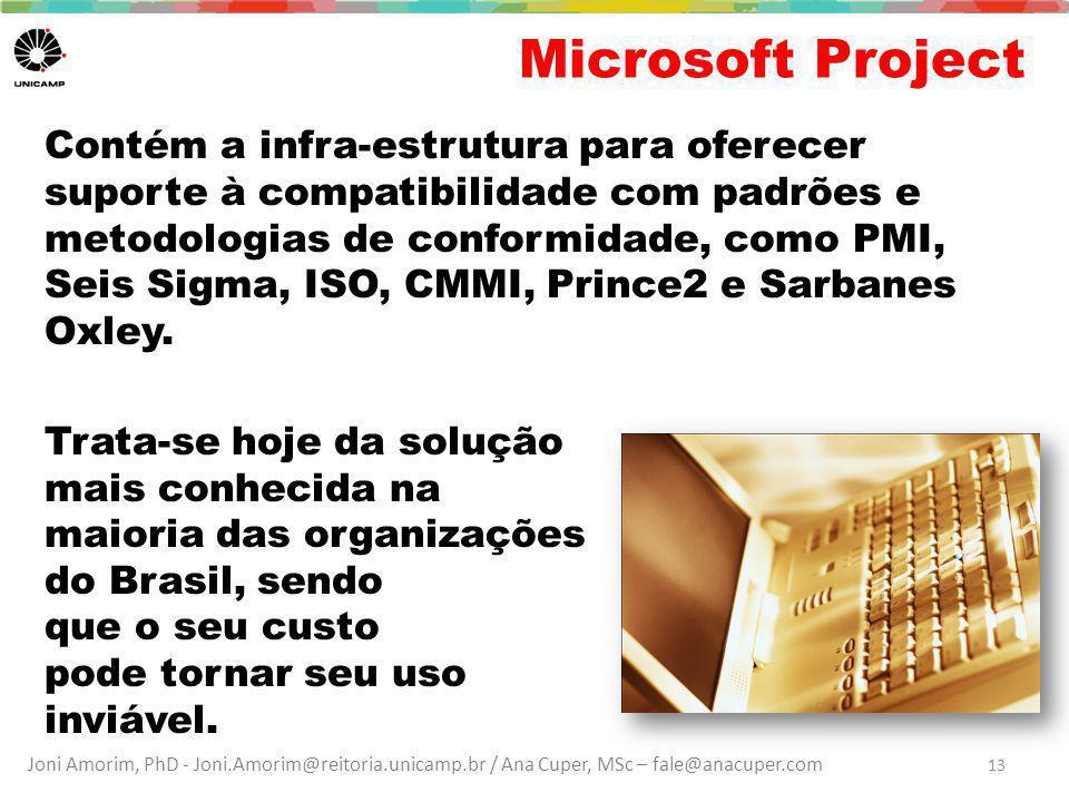 Joni Amorim, PhD - Joni.Amorim@reitoria.unicamp.br / Ana Cuper, MSc – fale@anacuper.com Microsoft Project Contém a infra-estrutura para oferecer supor