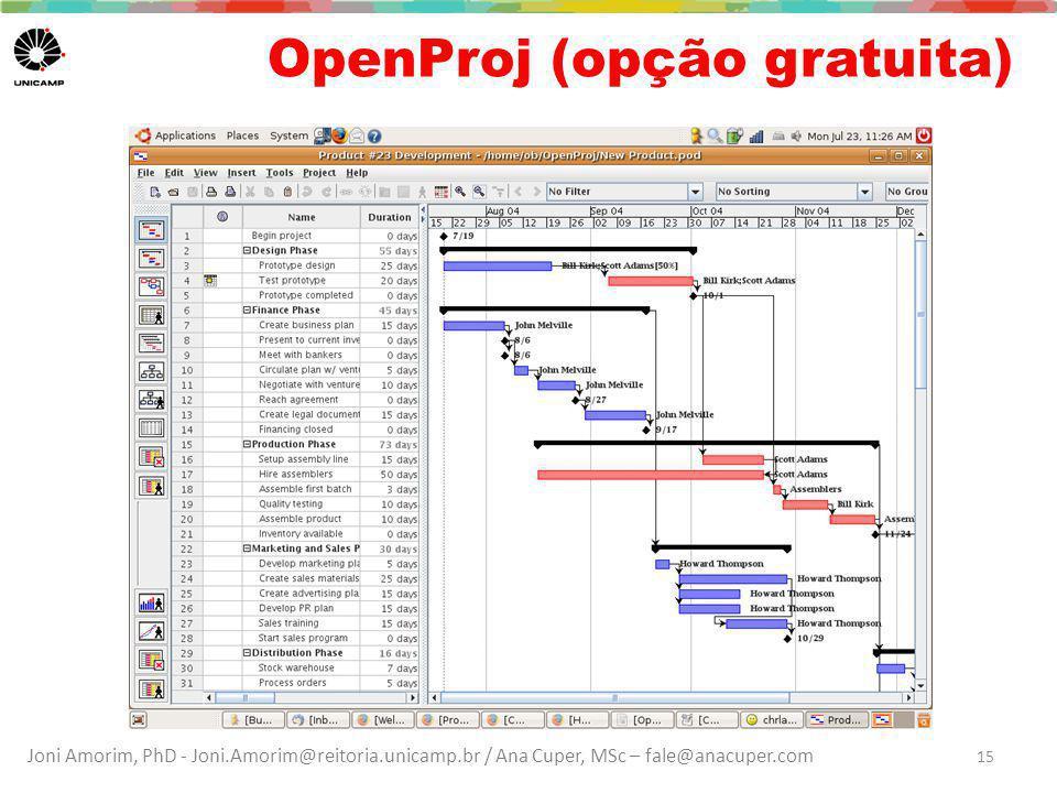 Joni Amorim, PhD - Joni.Amorim@reitoria.unicamp.br / Ana Cuper, MSc – fale@anacuper.com OpenProj (opção gratuita) 15
