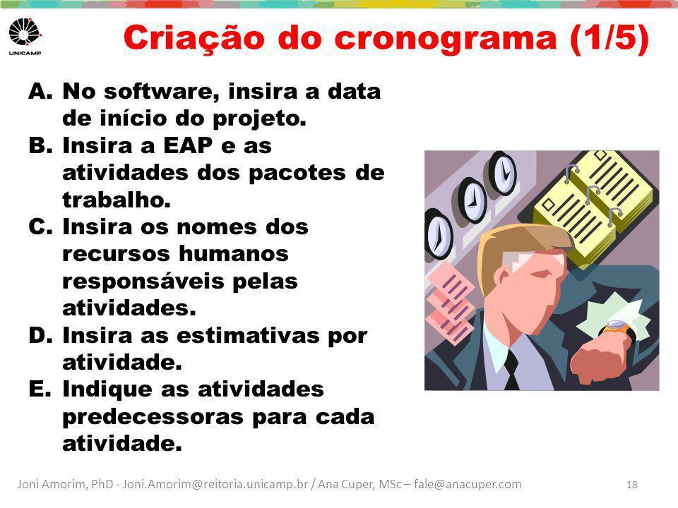 Joni Amorim, PhD - Joni.Amorim@reitoria.unicamp.br / Ana Cuper, MSc – fale@anacuper.com Criação do cronograma (1/5) A.No software, insira a data de início do projeto.