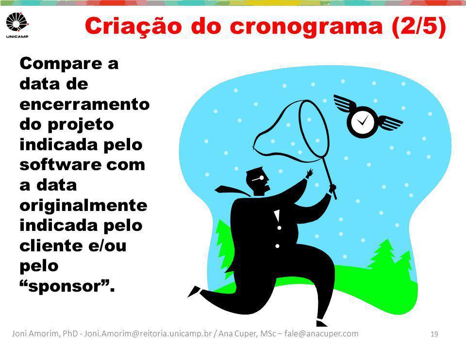Joni Amorim, PhD - Joni.Amorim@reitoria.unicamp.br / Ana Cuper, MSc – fale@anacuper.com Criação do cronograma (2/5) Compare a data de encerramento do projeto indicada pelo software com a data originalmente indicada pelo cliente e/ou pelo sponsor .