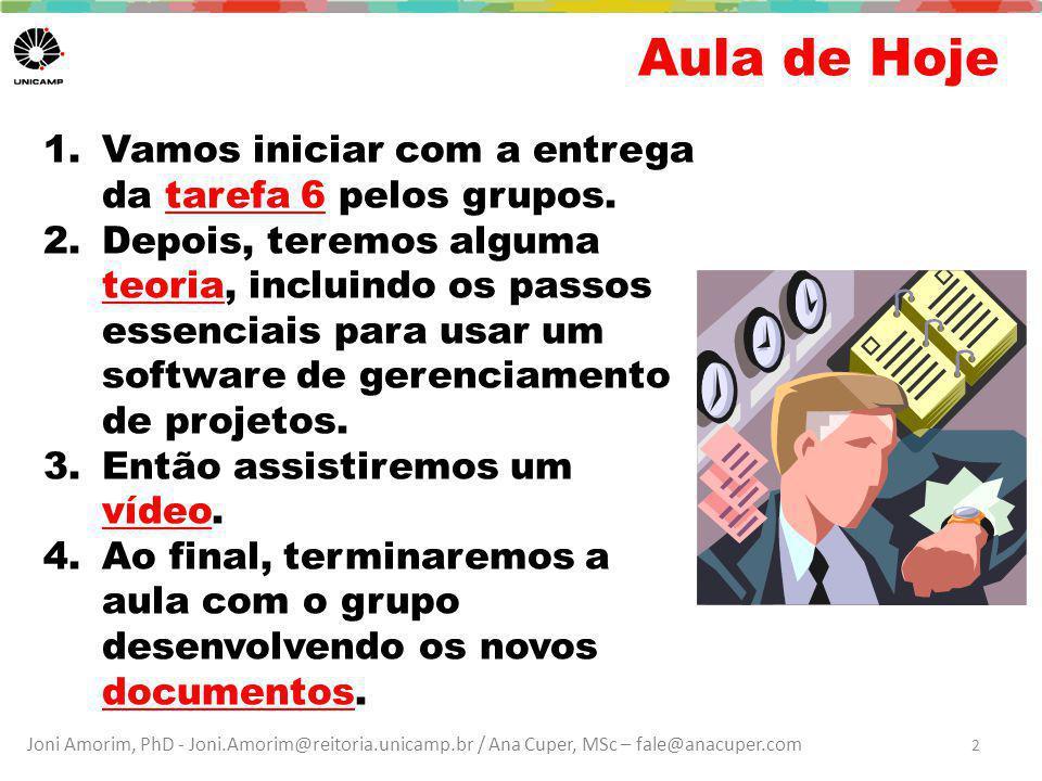 Joni Amorim, PhD - Joni.Amorim@reitoria.unicamp.br / Ana Cuper, MSc – fale@anacuper.com Aula de Hoje 2 1.Vamos iniciar com a entrega da tarefa 6 pelos