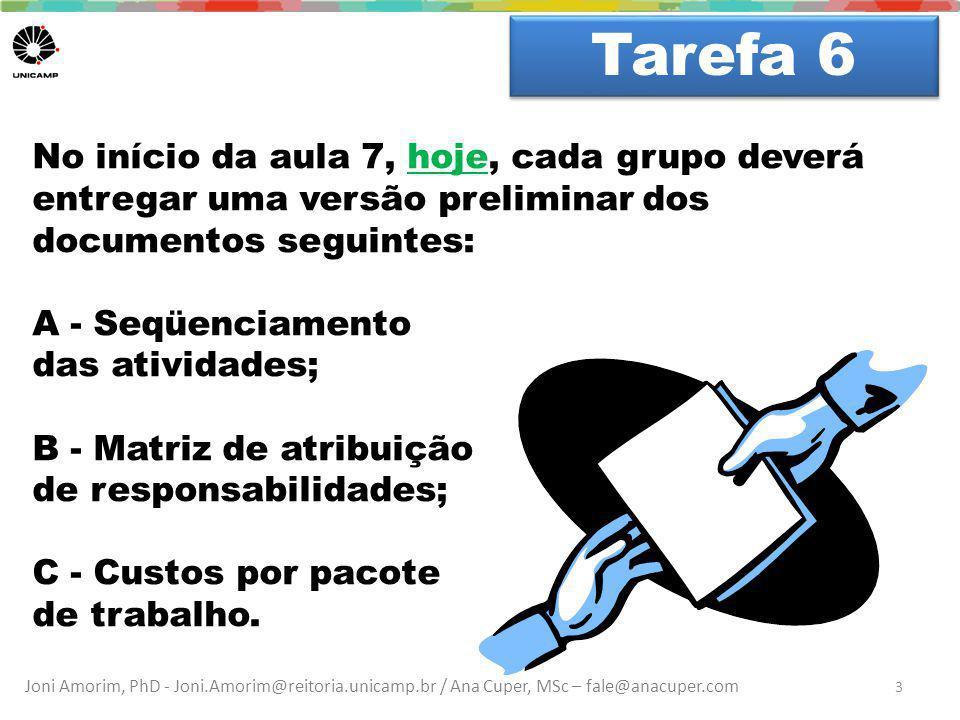 Joni Amorim, PhD - Joni.Amorim@reitoria.unicamp.br / Ana Cuper, MSc – fale@anacuper.com Dúvidas? Tarefa 6 3 No início da aula 7, hoje, cada grupo deve