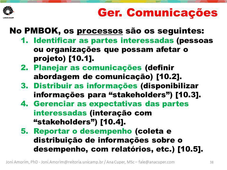 Joni Amorim, PhD - Joni.Amorim@reitoria.unicamp.br / Ana Cuper, MSc – fale@anacuper.com Ger. Comunicações No PMBOK, os processos são os seguintes: 1.I