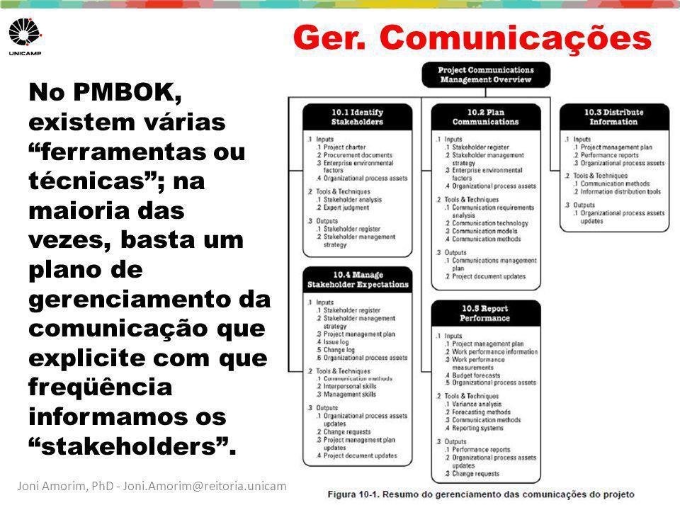 """Joni Amorim, PhD - Joni.Amorim@reitoria.unicamp.br / Ana Cuper, MSc – fale@anacuper.com Ger. Comunicações 39 No PMBOK, existem várias """"ferramentas ou"""