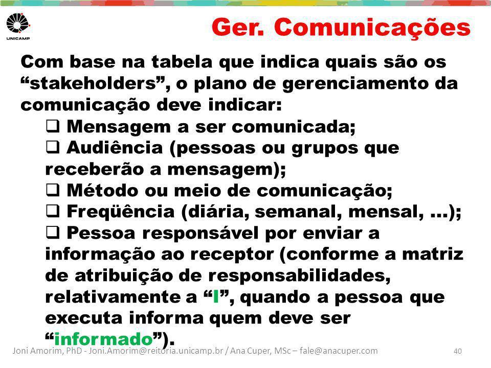 """Joni Amorim, PhD - Joni.Amorim@reitoria.unicamp.br / Ana Cuper, MSc – fale@anacuper.com Ger. Comunicações Com base na tabela que indica quais são os """""""