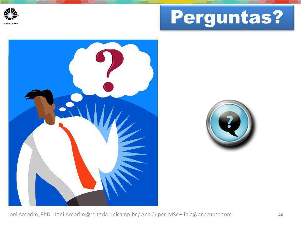 Joni Amorim, PhD - Joni.Amorim@reitoria.unicamp.br / Ana Cuper, MSc – fale@anacuper.com Dúvidas? Perguntas? 44