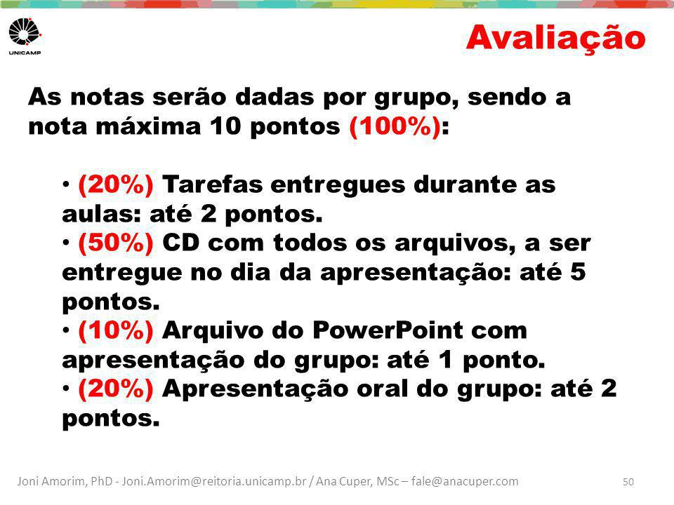 Joni Amorim, PhD - Joni.Amorim@reitoria.unicamp.br / Ana Cuper, MSc – fale@anacuper.com Avaliação 50 As notas serão dadas por grupo, sendo a nota máxima 10 pontos (100%): (20%) Tarefas entregues durante as aulas: até 2 pontos.