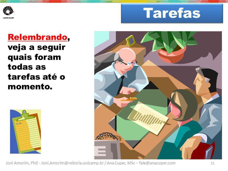 Joni Amorim, PhD - Joni.Amorim@reitoria.unicamp.br / Ana Cuper, MSc – fale@anacuper.com Dúvidas? Tarefas 51 Relembrando, veja a seguir quais foram tod