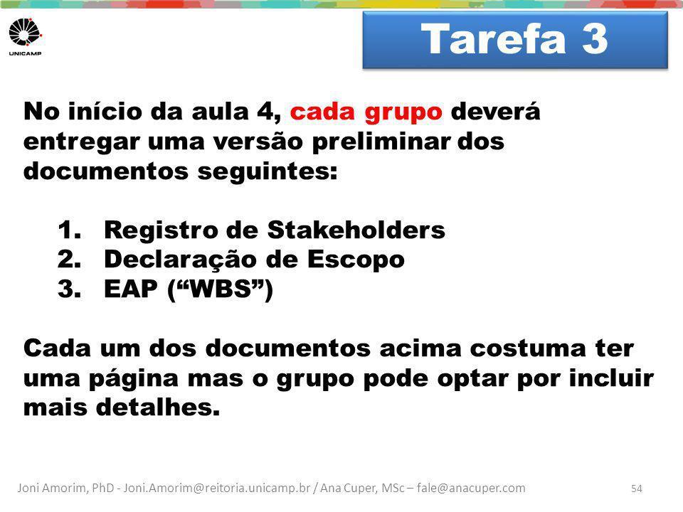 Joni Amorim, PhD - Joni.Amorim@reitoria.unicamp.br / Ana Cuper, MSc – fale@anacuper.com Dúvidas? Tarefa 3 54 No início da aula 4, cada grupo deverá en