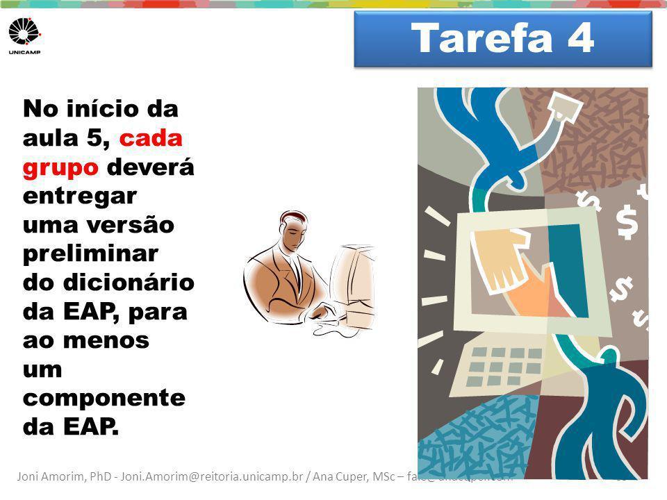 Joni Amorim, PhD - Joni.Amorim@reitoria.unicamp.br / Ana Cuper, MSc – fale@anacuper.com Dúvidas? Tarefa 4 55 No início da aula 5, cada grupo deverá en