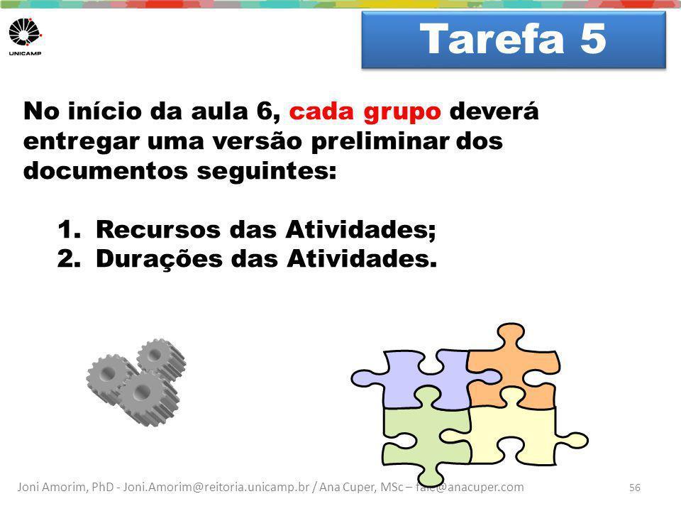 Joni Amorim, PhD - Joni.Amorim@reitoria.unicamp.br / Ana Cuper, MSc – fale@anacuper.com Dúvidas? Tarefa 5 56 No início da aula 6, cada grupo deverá en