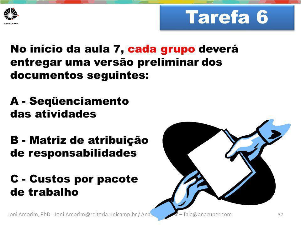 Joni Amorim, PhD - Joni.Amorim@reitoria.unicamp.br / Ana Cuper, MSc – fale@anacuper.com Dúvidas? Tarefa 6 57 No início da aula 7, cada grupo deverá en