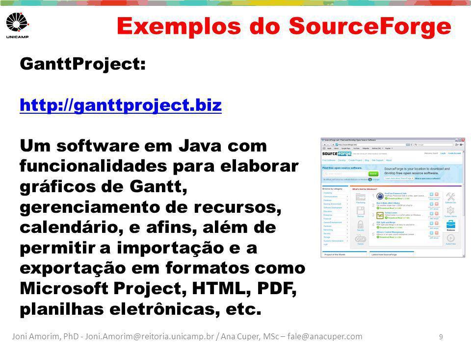 Joni Amorim, PhD - Joni.Amorim@reitoria.unicamp.br / Ana Cuper, MSc – fale@anacuper.com Exemplos do SourceForge GanttProject: http://ganttproject.biz Um software em Java com funcionalidades para elaborar gráficos de Gantt, gerenciamento de recursos, calendário, e afins, além de permitir a importação e a exportação em formatos como Microsoft Project, HTML, PDF, planilhas eletrônicas, etc.
