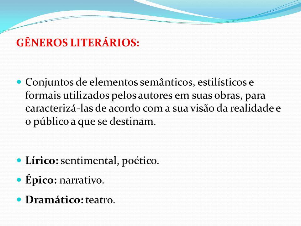 GÊNEROS LITERÁRIOS: Conjuntos de elementos semânticos, estilísticos e formais utilizados pelos autores em suas obras, para caracterizá-las de acordo c