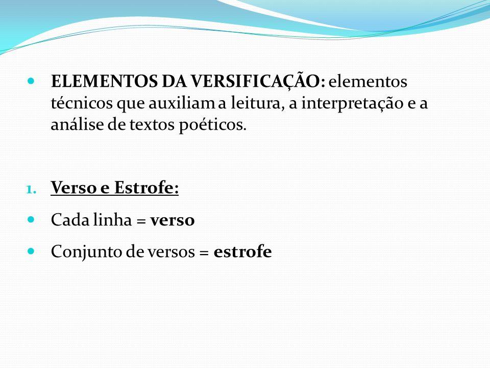 ELEMENTOS DA VERSIFICAÇÃO: elementos técnicos que auxiliam a leitura, a interpretação e a análise de textos poéticos. 1. Verso e Estrofe: Cada linha =
