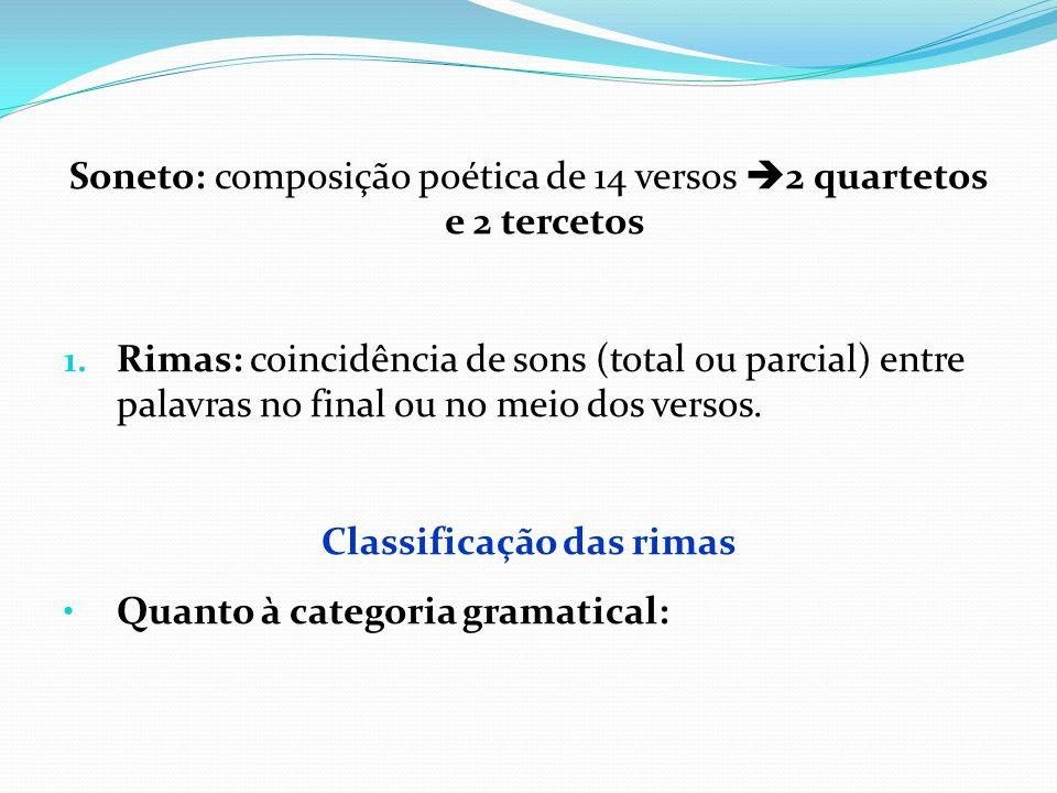 Soneto: composição poética de 14 versos  2 quartetos e 2 tercetos 1. Rimas: coincidência de sons (total ou parcial) entre palavras no final ou no mei