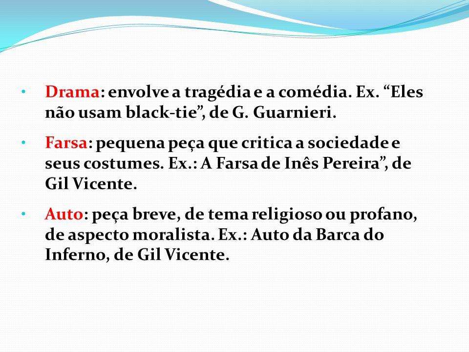 """Drama: envolve a tragédia e a comédia. Ex. """"Eles não usam black-tie"""", de G. Guarnieri. Farsa: pequena peça que critica a sociedade e seus costumes. Ex"""