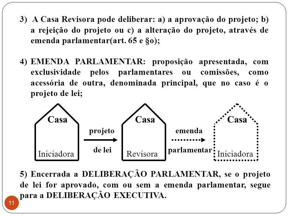 emenda parlamentar 3) A Casa Revisora pode deliberar: a) a aprovação do projeto; b) a rejeição do projeto ou c) a alteração do projeto, através de emenda parlamentar(art.