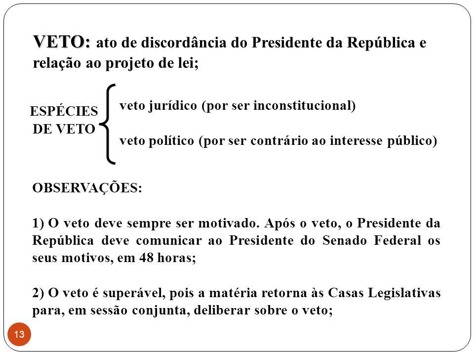 veto jurídico (por ser inconstitucional) veto político (por ser contrário ao interesse público) VETO: VETO: ato de discordância do Presidente da República e relação ao projeto de lei; ESPÉCIES DE VETO OBSERVAÇÕES: 1) O veto deve sempre ser motivado.