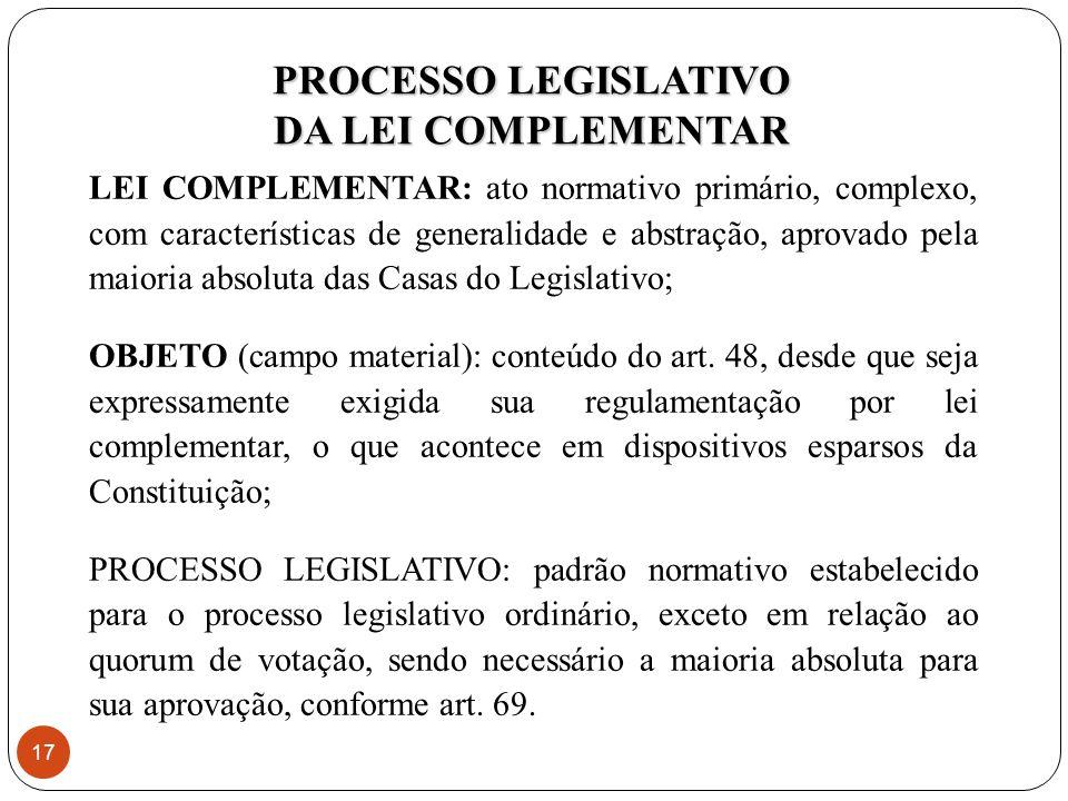 LEI COMPLEMENTAR: ato normativo primário, complexo, com características de generalidade e abstração, aprovado pela maioria absoluta das Casas do Legislativo; OBJETO (campo material): conteúdo do art.