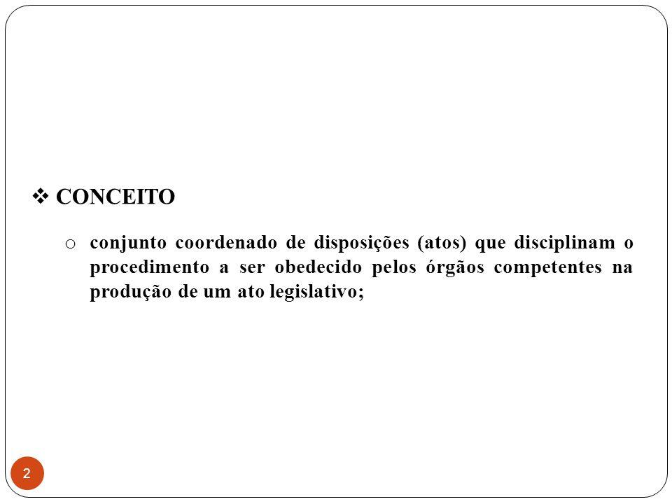  CONCEITO o conjunto coordenado de disposições (atos) que disciplinam o procedimento a ser obedecido pelos órgãos competentes na produção de um ato legislativo; 2