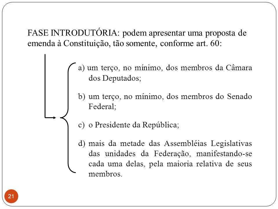 FASE INTRODUTÓRIA: podem apresentar uma proposta de emenda à Constituição, tão somente, conforme art.