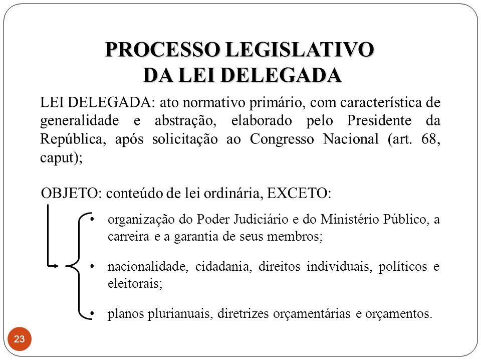 LEI DELEGADA: ato normativo primário, com característica de generalidade e abstração, elaborado pelo Presidente da República, após solicitação ao Congresso Nacional (art.