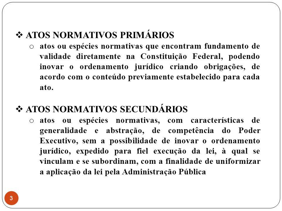 RESOLUÇÃO: ato primário do Poder Legislativo, utilizado, em regra, para veicular as competências privativas de cada uma das Casas do Poder Legislativo; OBJETO: conteúdo do art.