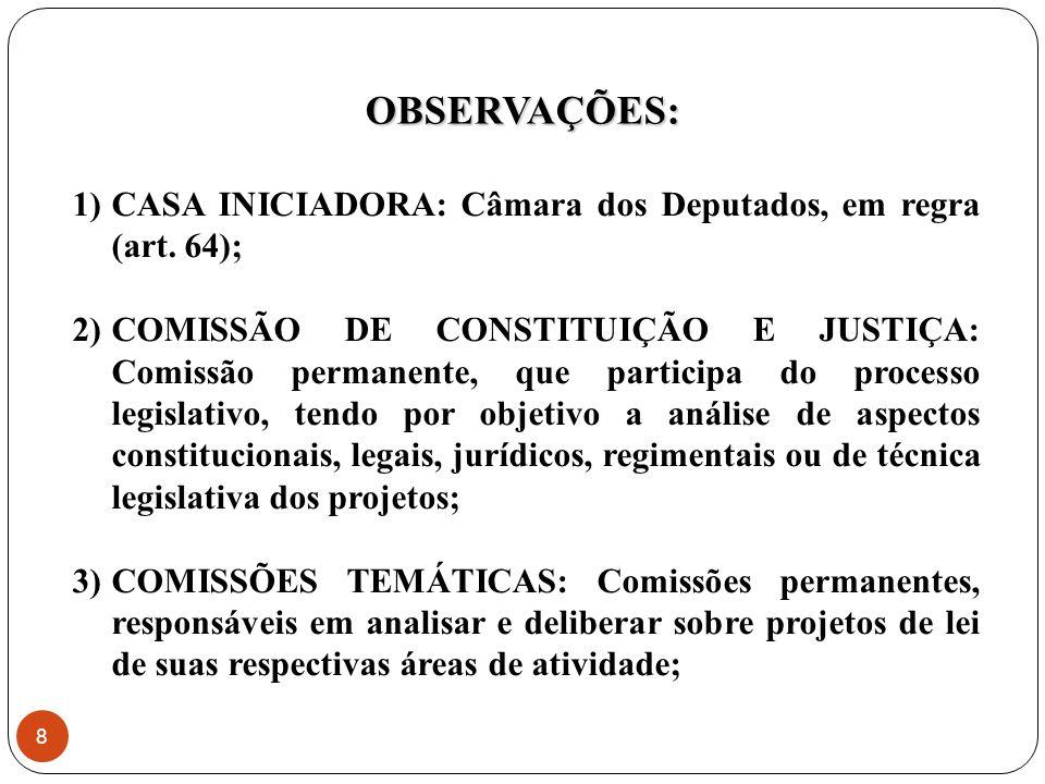 4) PLENÁRIO: Composto por todos os parlamentares da casa, a sua utilização na discussão e votação do projeto de lei, em regra, é dispensável, a sua competência é preservada em duas hipóteses (art.