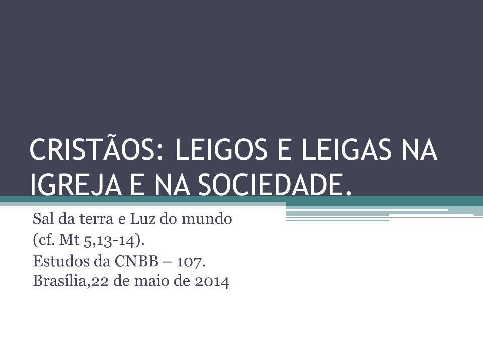 CRISTÃOS: LEIGOS E LEIGAS NA IGREJA E NA SOCIEDADE. Sal da terra e Luz do mundo (cf. Mt 5,13-14). Estudos da CNBB – 107. Brasília,22 de maio de 2014