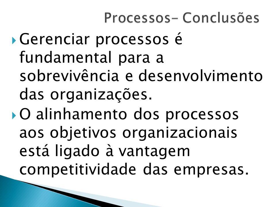  Gerenciar processos é fundamental para a sobrevivência e desenvolvimento das organizações.  O alinhamento dos processos aos objetivos organizaciona