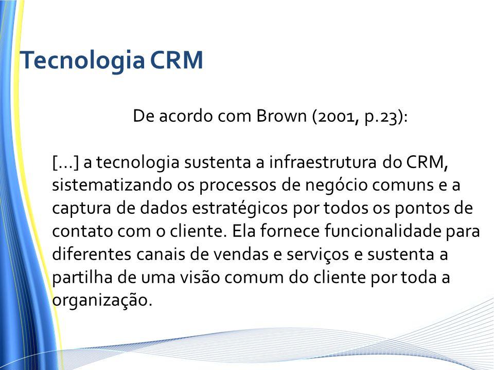 De acordo com Brown (2001, p.23): [...] a tecnologia sustenta a infraestrutura do CRM, sistematizando os processos de negócio comuns e a captura de dados estratégicos por todos os pontos de contato com o cliente.