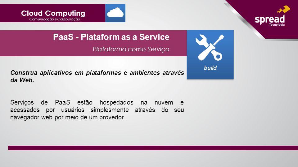 PaaS - Plataform as a Service Plataforma como Serviço build Construa aplicativos em plataformas e ambientes através da Web.