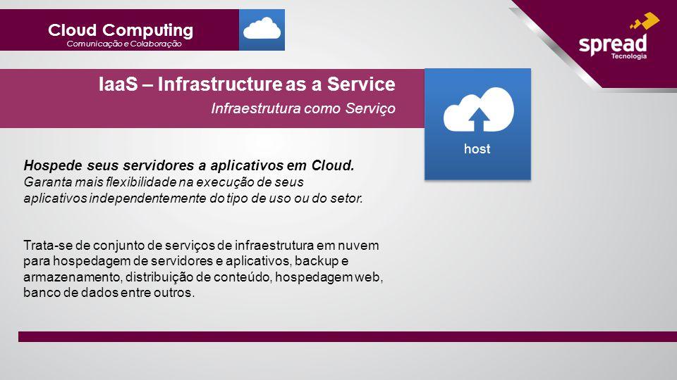 IaaS – Infrastructure as a Service Infraestrutura como Serviço Hospede seus servidores a aplicativos em Cloud.