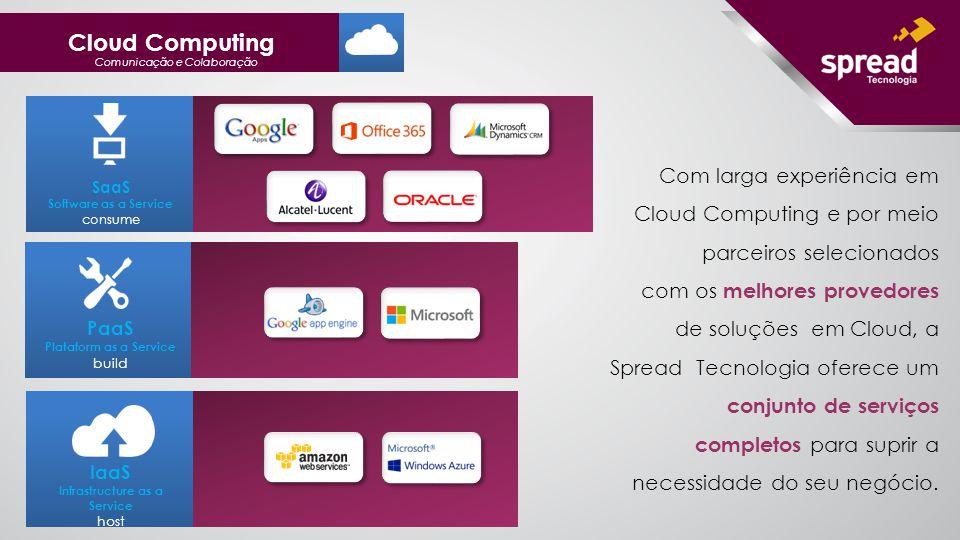SaaS Software as a Service consume Com larga experiência em Cloud Computing e por meio parceiros selecionados com os melhores provedores de soluções em Cloud, a Spread Tecnologia oferece um conjunto de serviços completos para suprir a necessidade do seu negócio.