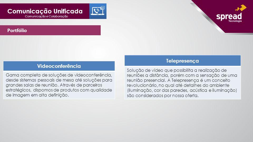 Comunicação Unificada Comunicação e Colaboração Portfólio Videoconferência Gama completa de soluções de videoconferência, desde sistemas pessoais de mesa até soluções para grandes salas de reunião.