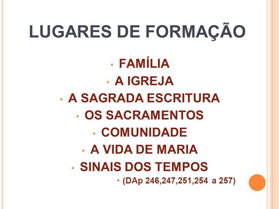 LUGARES DE FORMAÇÃO FAMÍLIA A IGREJA A SAGRADA ESCRITURA OS SACRAMENTOS COMUNIDADE A VIDA DE MARIA SINAIS DOS TEMPOS (DAp 246,247,251,254 a 257)