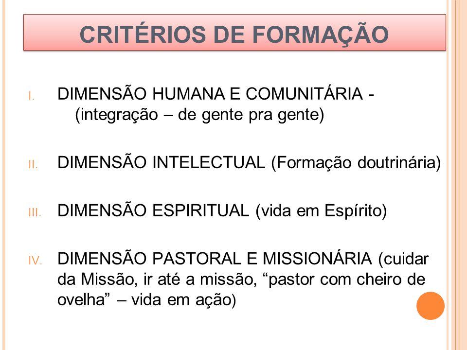 CRITÉRIOS DE FORMAÇÃO I. DIMENSÃO HUMANA E COMUNITÁRIA - (integração – de gente pra gente) II. DIMENSÃO INTELECTUAL (Formação doutrinária) III. DIMENS